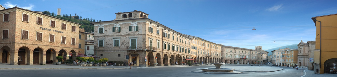Piazza del Popolo San Severino in Le Marche. A region between the Apennine Mountains and the Adriatic Sea and a perfect location for an Italian holiday home.